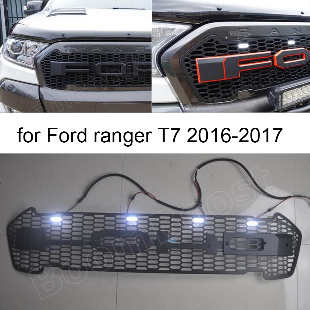 Boomboost led avant racing grill grille pour ford ranger t7 2016 2017 led lumi re pour