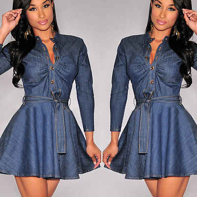 Denim Jeans Dress Ikatan Simpul Sabuk Lengan Panjang Gaun Fashion Wanita Slim Fit Blue Jean Gaun Plus Ukuran