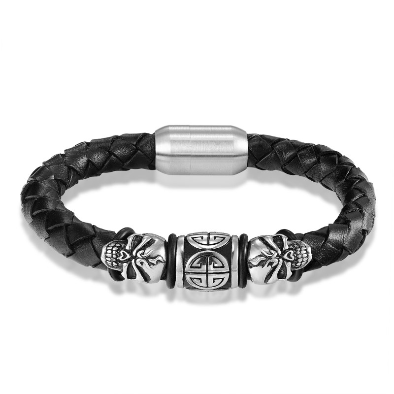 JANEYACY FASHION Pria Gelang Stainless Steel Skull Gelang Hitam Kulit - Perhiasan fashion - Foto 3
