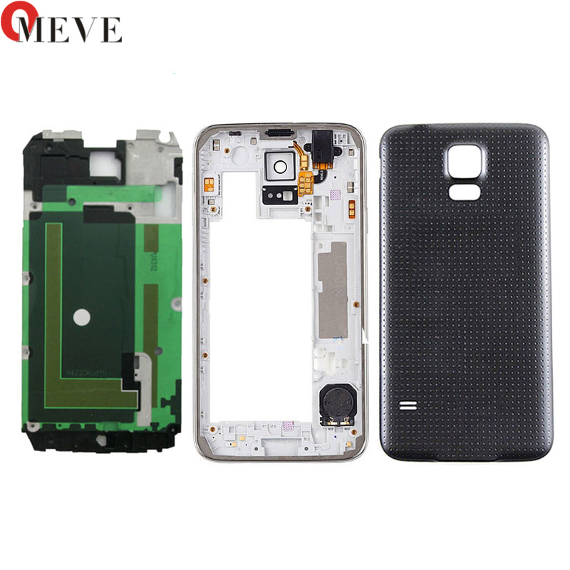New Full Housing Case Front Bezel+Middle Frame+Rubber Seal Back Cover Replacement Parts For Samsung S5 I9600 G900 G900