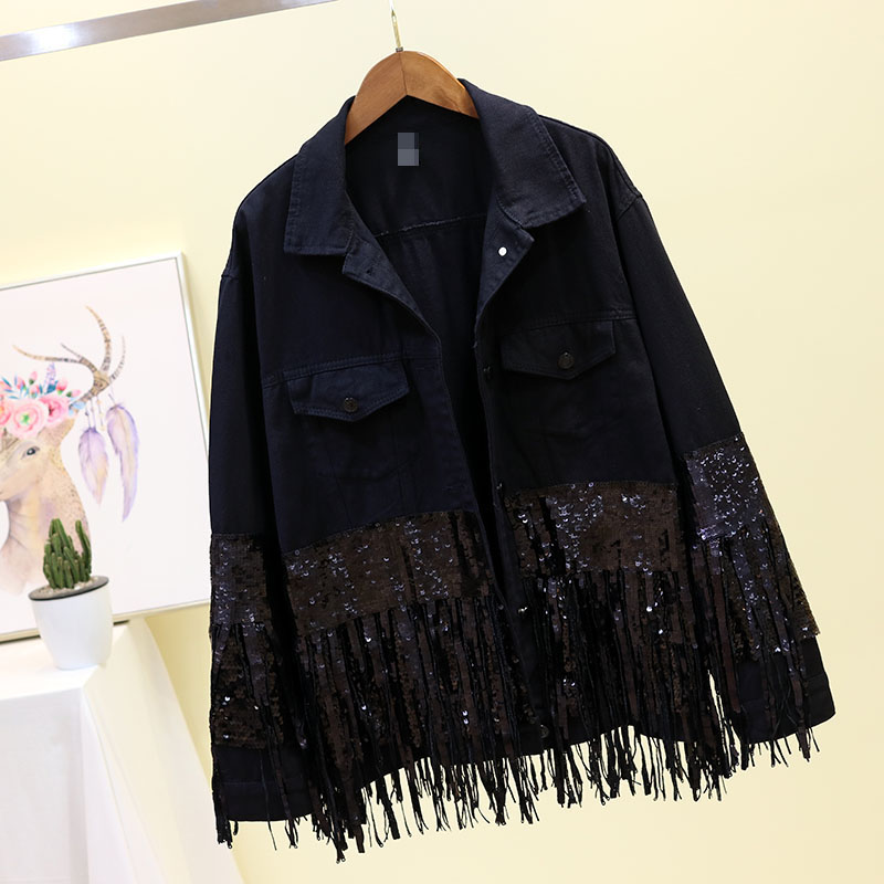 Black Denim   Jacket   Women Outerwear Spring Autumn Sequin Tassel White Jeans   Jacket   Women Oversized Loose   Basic   Denim Coat Female