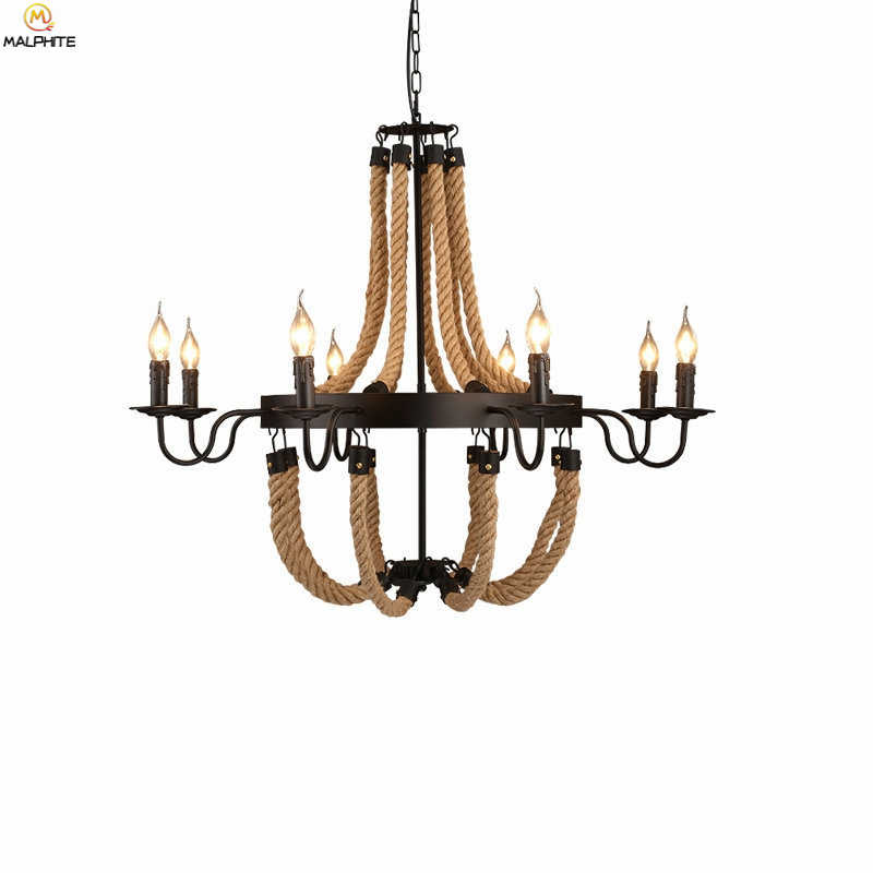 Американский пеньковый Канат, подвесные светильники, промышленный декор, светильник для ресторана, кафе, Подвесная лампа, скандинавский Ретро Железный светильник