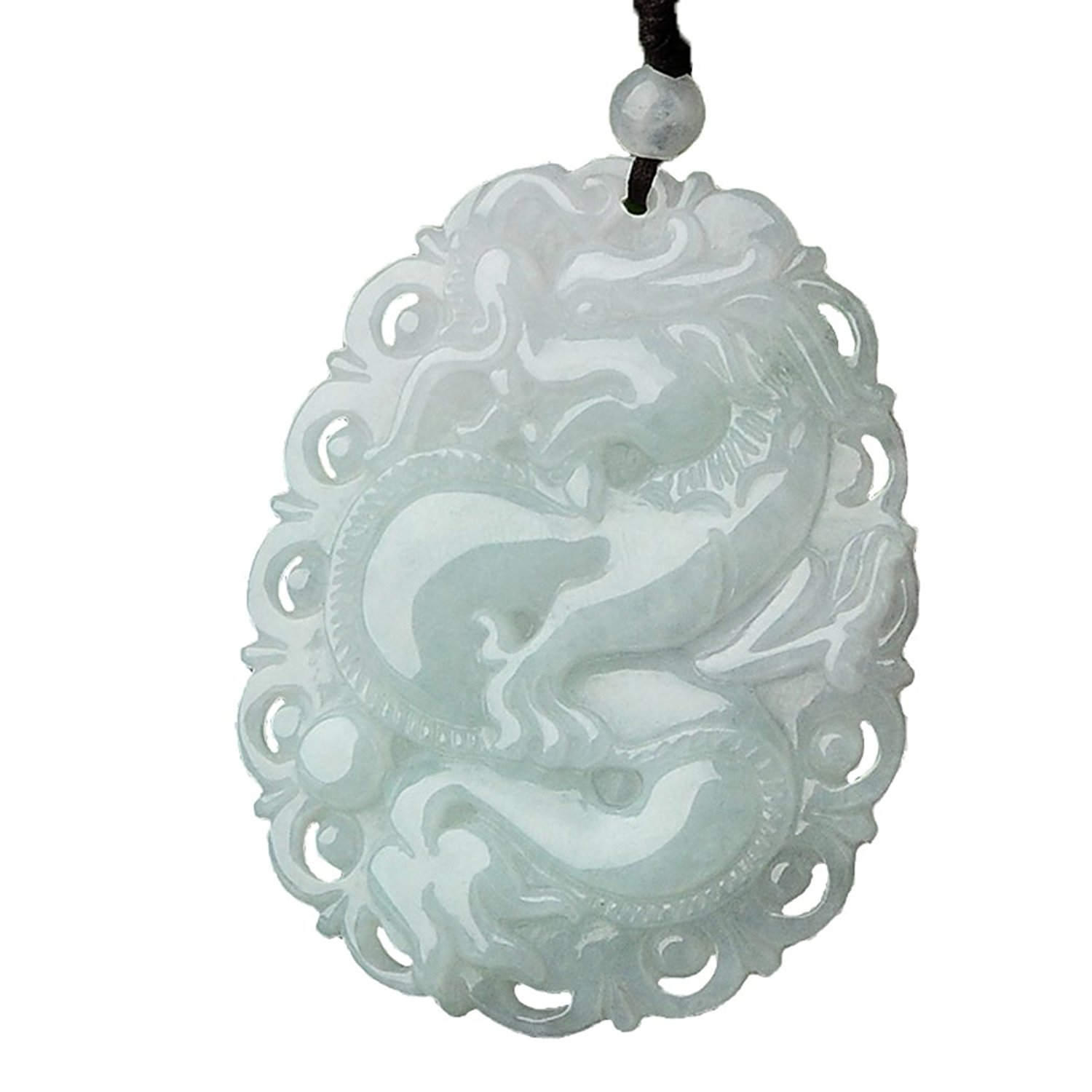 Koraba Fine Jewelry Pure Natural Hand Carved Jadeite Jade Dragon Amulet Pendant Necklace Free Shipping natural jadeite dragon brand lace jade pendant zodiac dragon transshipment yu pei jade pendant necklace for women and men