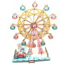Beauty DIY 3D Laser Cutting Wooden Ferris Wheel Puzzle Game Gift for Children Kids Model Building Kits Valentines Day Birthday