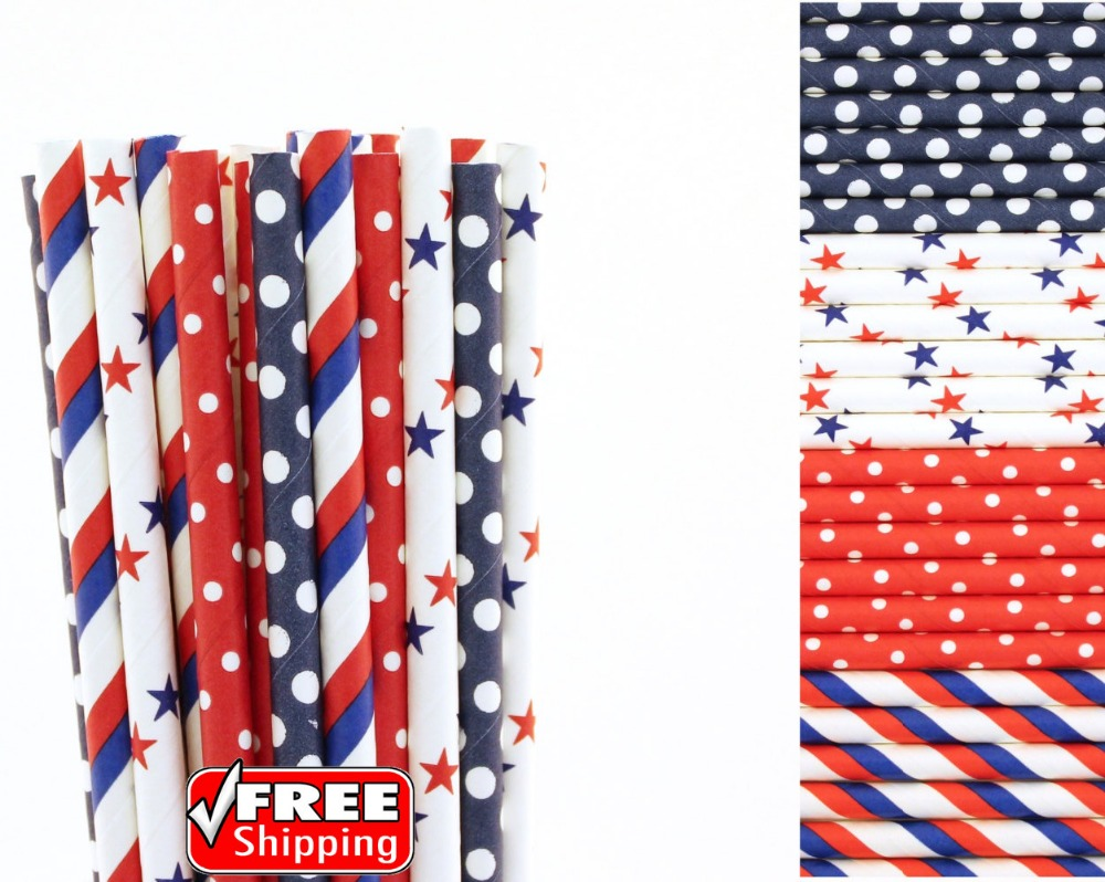200pcs Mixed 4 Designs Blue And Red Themed Paper Straws-Striped,Dot And Star 4th Of July Patriotic BBQ Party,Colored Bulk Cheap