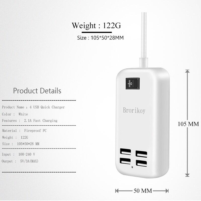 4 պորտ USB պատի լիցքավորիչ EU Plug 15W 3A - Բջջային հեռախոսի պարագաներ և պահեստամասեր - Լուսանկար 3