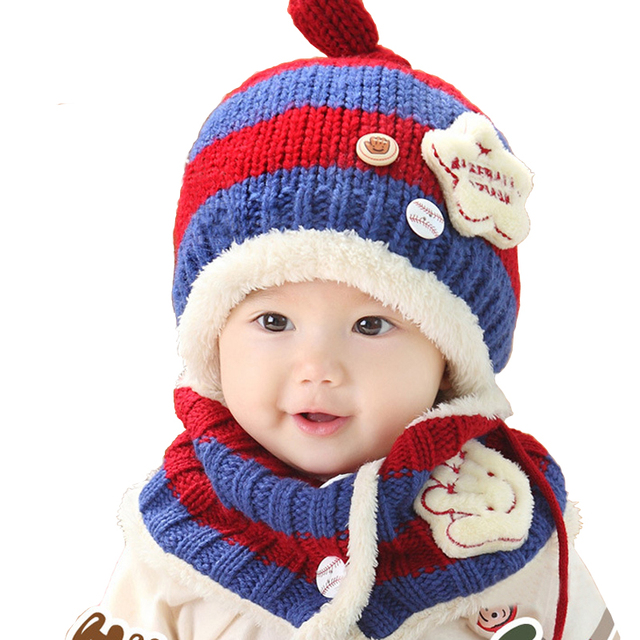 2Pcs 1Set Fall Winter Children s Knitted Winter Hat Baby Hat Ear Cap Baby  Bib Suit Suitable 6-48 months old ec78b0c5917