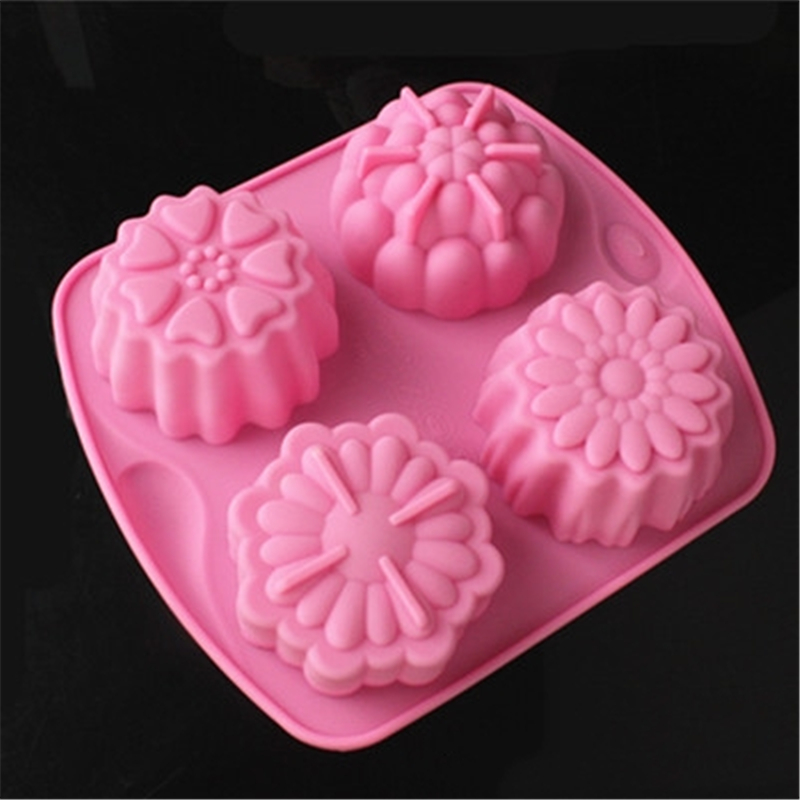 Silicone Baking Tool 4 Different Patterns Flower Shape Ice Skin Moon Cake Mold DIY Chocolate Mousse Soap Jelly Pudding Mold KK45