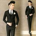 (Куртка + брюки + жилет) 2017 новый мужчины костюм певец чистый цвет бизнес формальный тонкий костюм подходит жених партия выпускного вечера венчания платье костюм