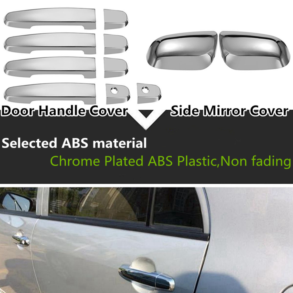 Chrome side mirror with door handle cover trim for toyota corolla 2009 2013 china