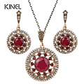 Indian Jewelry Big Round Crystal Flower Necklaces And Earrings For Women Vintage Wedding Jewelry Sets For Brides Love Gift