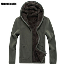 Mountainskin 7XL 冬メンズジャケット厚いフリースフード付きパーカーメンズシャツ固体カジュアル男性コートブランド服 SA116