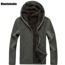 Mountainskin 7XL kış erkek ceketler kalın polar kapşonlu Hoodies erkekler kazak katı rahat erkek mont marka giyim SA116