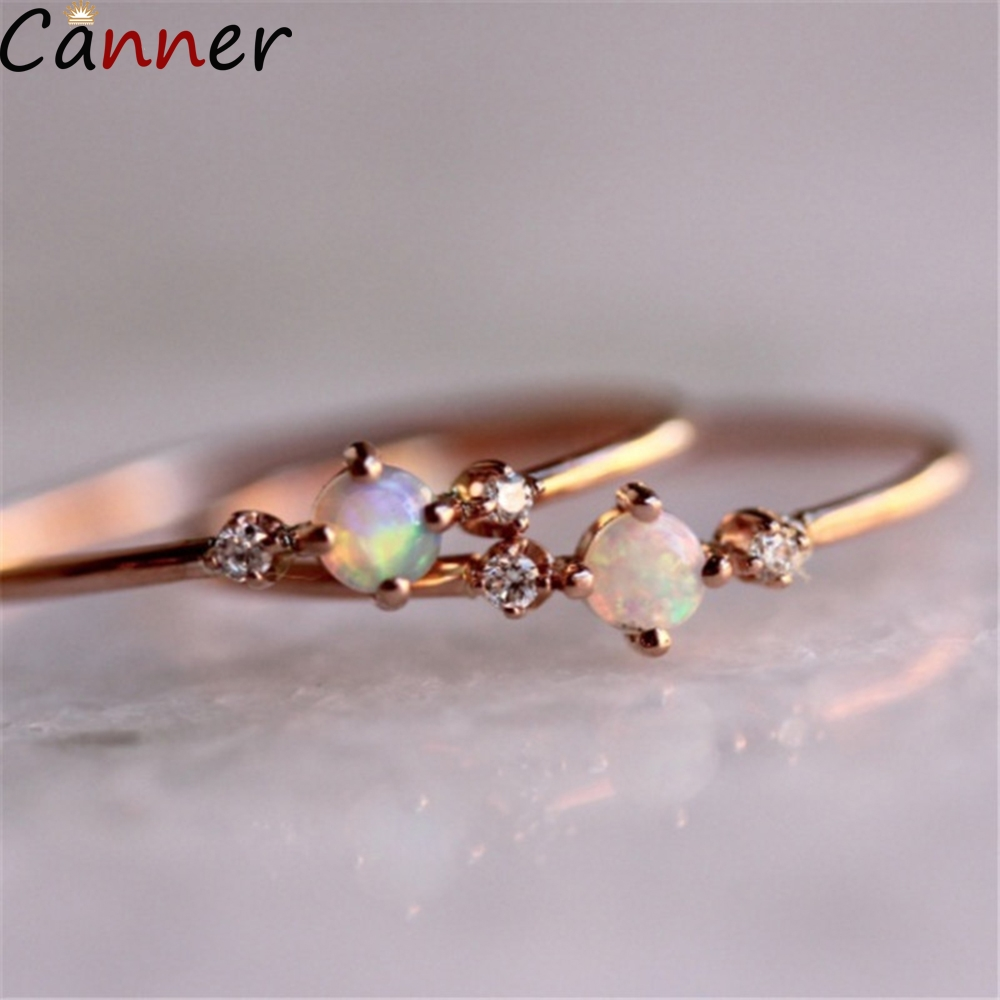 Canner Simple Opal Rings For Women Gold Cubic Zircon Rhinestone Wedding Crystal Anillos Mujer Jewelry Party Gifts F4