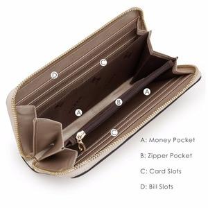 Image 5 - Foxer女性のスプリット革ロング財布女性のクラッチバッグファッションカードホルダー高級携帯電話の財布ジッパー財布
