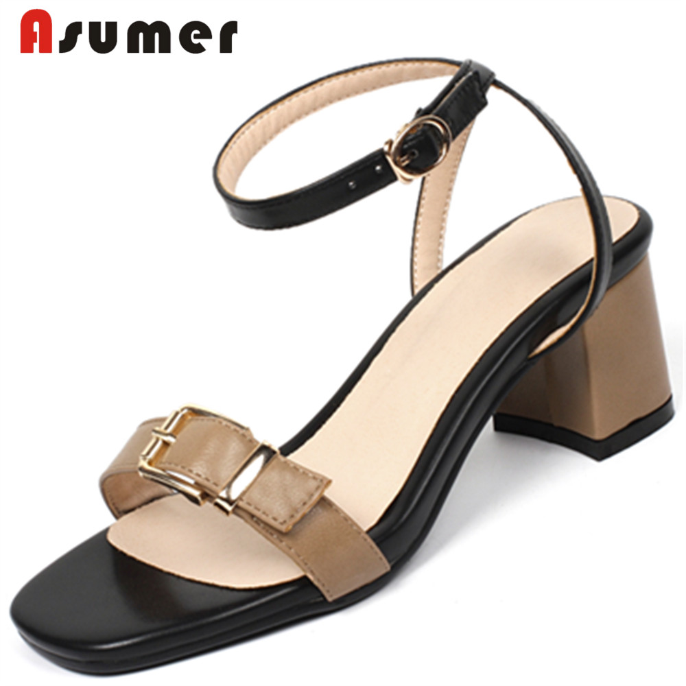 ASUMER Square Heels Sandals Women New-Arrivals White Big-Size Fashion Woman Brown 32-44