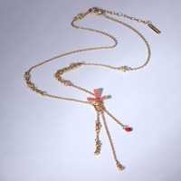 Paris Lover Series Windmill Star Tassels Chain Necklace For Women Party Jewelry
