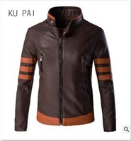 Autumn and winter PU leather jacket Slim motorcycle suit lapel splicing trend large size Korean tide men's jacket