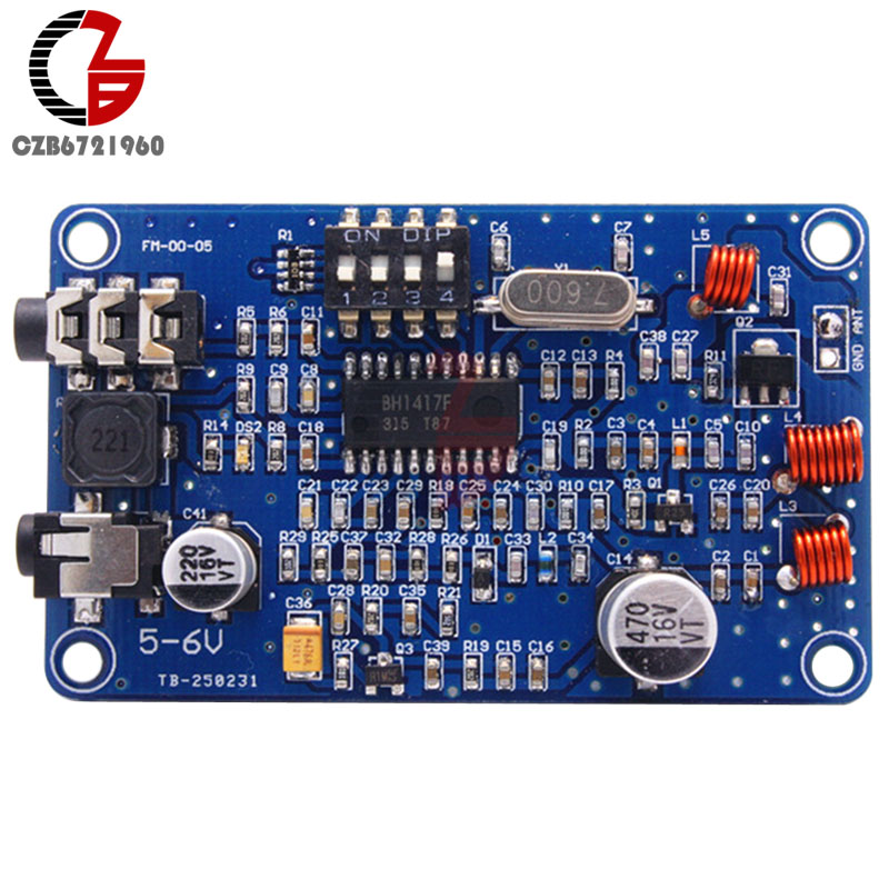 цена на BH1417 200M 0.5W Digital Radio Station PLL Wireless 2-Channel Stereo FM Transmitter Module 100-600mW 65x39x1.6mm Board