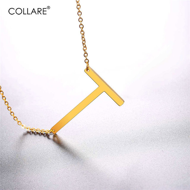 collare choker necklace alfabet pendant stainless steel goldblack color initial jewelry statement letter t