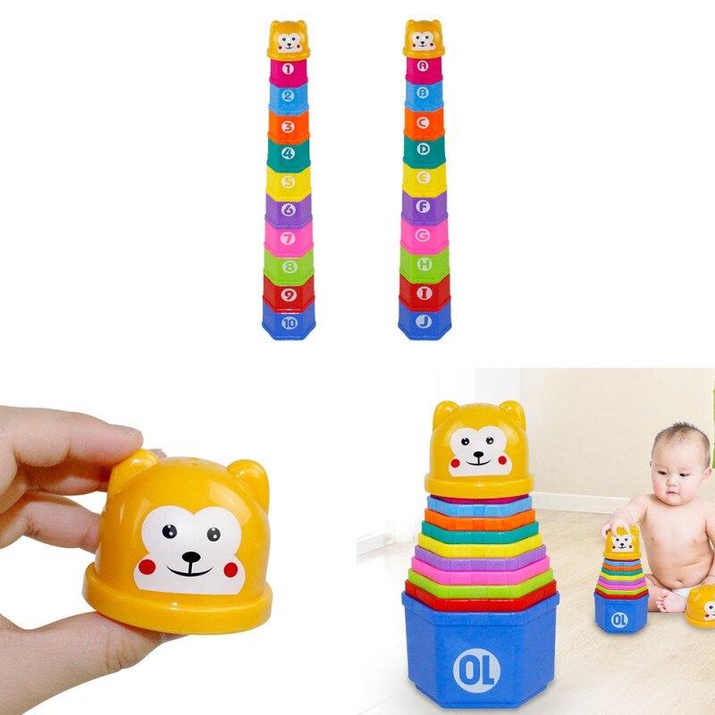 Baby Kinderen Vroege Onderwijs Speelgoed Voor Kinderen Cartoon Regenboog Toren Blokken Baby Geschenken Speelgoed Leren Vroege Onderwijs Speelgoed Om Een Gevoel Op Gemak En Energiek Te Maken