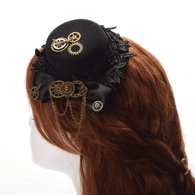 2822db8ce32 Steampunk Gear Top Hat Black Bowknot Small Hair Clip Lolita Gothic Punk  Head Wear