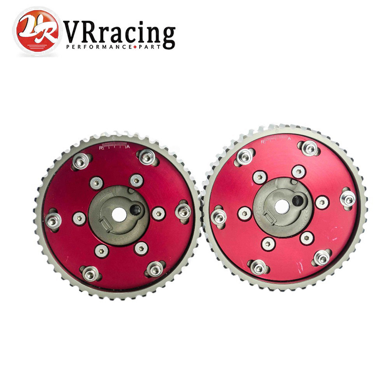 VR RACING - Adjustable CAM GEAR GEARS Pulley for BMW E21 E28 E30 E34 E36 318i ( 2pcs) Red VR6537R blox racing 2pcs adjustable cam gear pulley cam pulley set for honda civic integra d16a sohc 96 00 inlet and exhaust ep cgd16bl