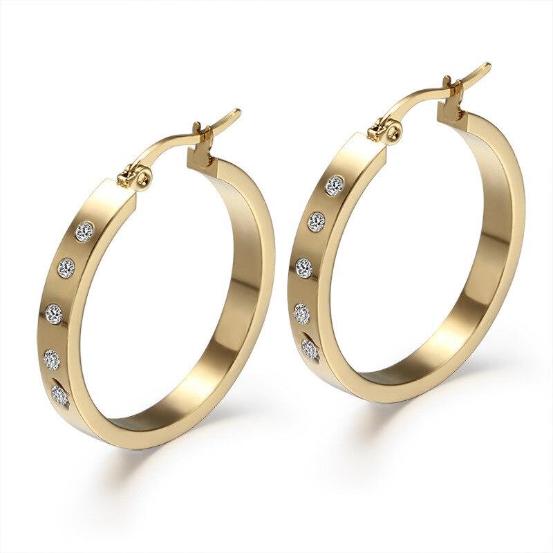 Enthusiastic Anti Allergy Titanium Jewelry Shiny Rhinestones Earring Popular Gold Earrings Punk Rock Rapper Eardrop For Women Korea Style