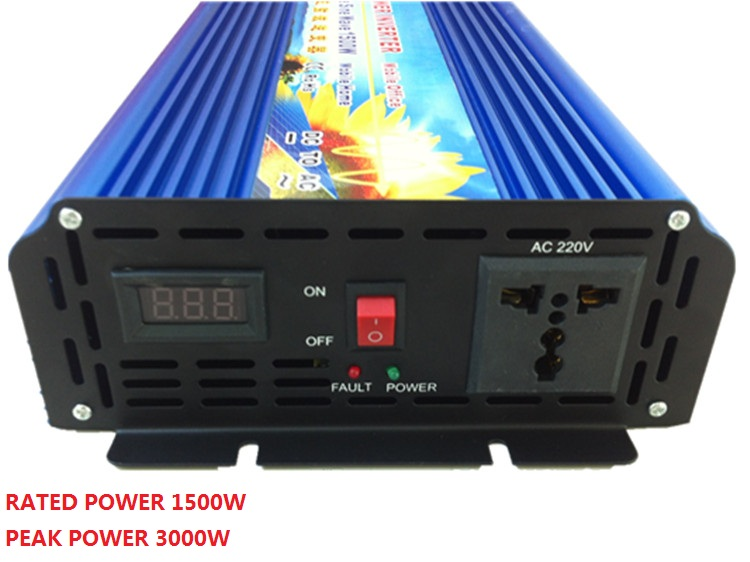 цена на 1500W DC 12V/24V TO AC120V/220V 50HZ/60HZ Pure Sine Wave Power Inverter peak 3000W digital display power inverter