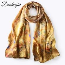 DANKEYISI шарф из чистого шелка, женский шарф, Шелковый роскошный бренд, платок для женщин, модная бандана, длинный шелковый шарф с принтом, Женский шифоновый шарф