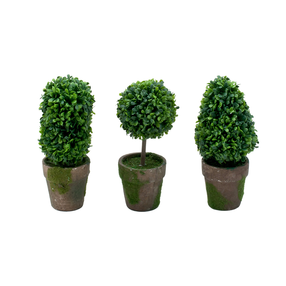 Garden and home office mini artificial plants set of 3 for Decorative outdoor pots