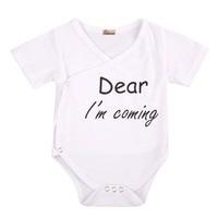 0-24M Summer Cotton Newborn Short Sleeve Letters Infant Baby Boys Girls Bodysuit Clothes Outfits Sunsuit