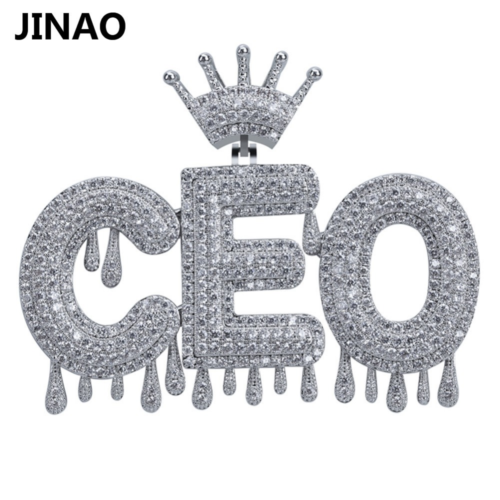 Custom Name Iced Out Crown Bubble  Letters Chain Pendants Necklaces Men's Charms Zircon Hip Hop Jewelry Gold Silver Tennis Chain