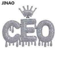 Пользовательское имя Iced Out Корона пузырь цепочка с буквами ожерелья с подвесками для мужчин прелести Циркон хип-хоп Jewelry цвета: золотистый, с...