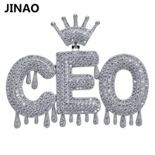 Custom Name Iced Out Crown Bubble Letters Chain Pendants Necklaces Mens Charms Zircon Hip Hop Jewelry Silver color Tennis Chain