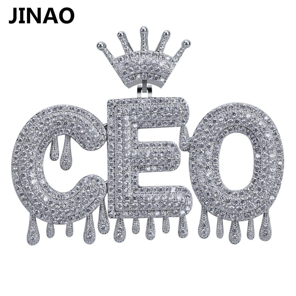 Nom personnalisé glacé couronne bulle lettres chaîne pendentifs colliers hommes charmes Zircon Hip Hop bijoux or argent Tennis chaîne