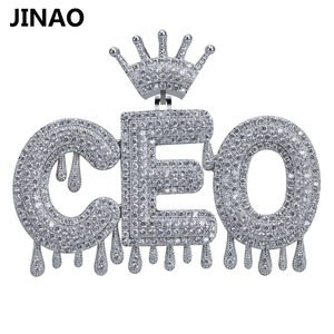 Image 1 - Nome personalizado iced para fora coroa bolha letras pingentes de corrente colares encantos masculinos zircon hip hop jóias cor prata tênis corrente