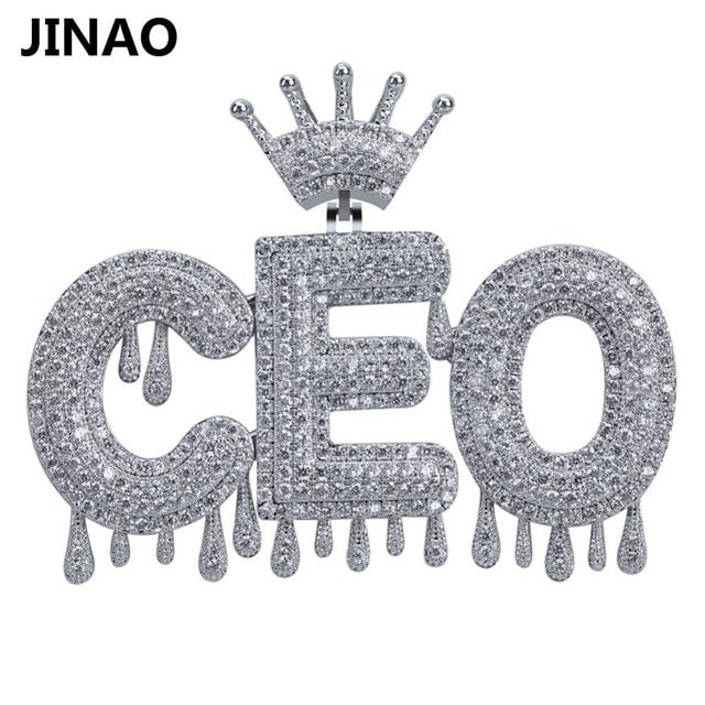Nome personalizado iced para fora coroa bolha letras pingentes de corrente colares encantos masculinos zircon hip hop jóias cor prata tênis corrente