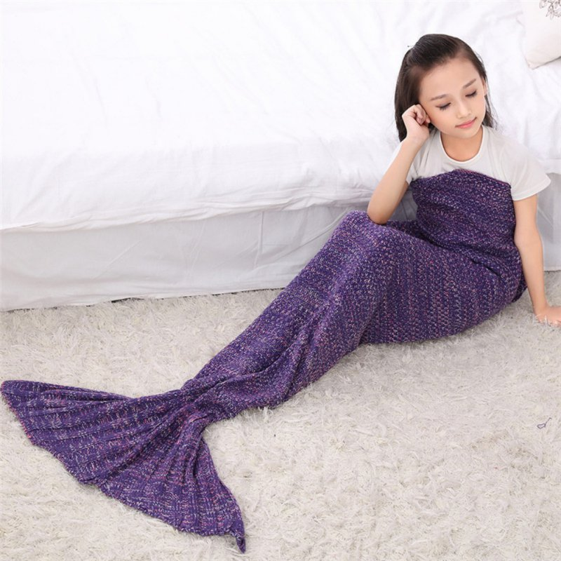 2017 New Children Yarn Knitted Mermaid Tail Blanket Handmade Crochet Mermaid Blanket Throw Bed Sofa Wrap Lovely Sleeping Bag