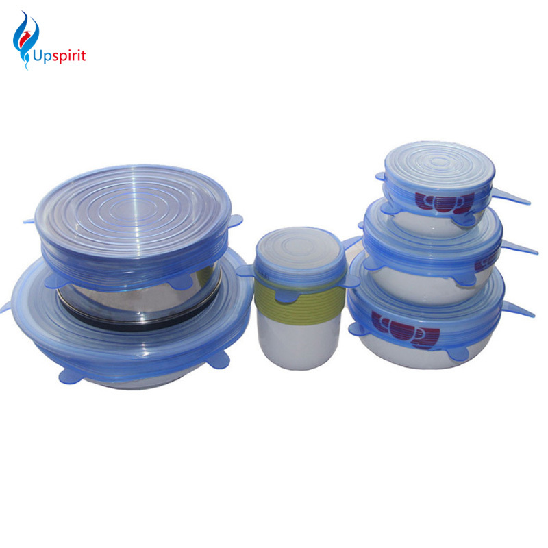 6 Pcs Set Silicone Suction Lid bowl Pan Cooking Pot Sealed Stretch Lids Bowl Cup Dish