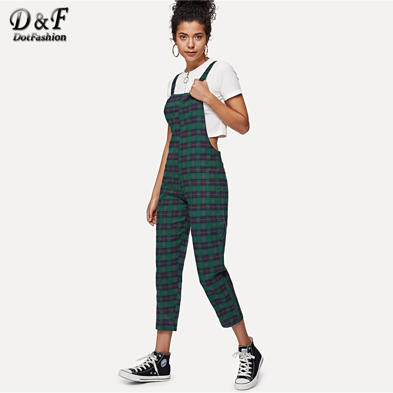 Dotfashion Green Plaid Criss Cross Back Checked Pinafore Pants Women Casual Autumn Straps Sleeveless Spring Mid Waist   Jumpsuit