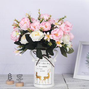 Image 4 - artificial peonies flowers silk bouquet for wedding decoration cheap small fake flowers home decor DIY high quality chinese made