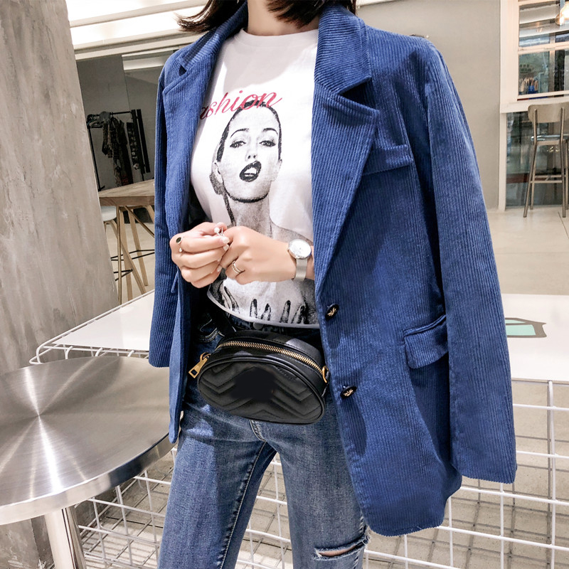 Veste Côtelé Manches Travail Lâche Costume Velours 2018 Formel Blazers Feminino Dames En Longues Femmes Royal Automne Petit Bleu Ol Blazer Vintage AOAw10q6