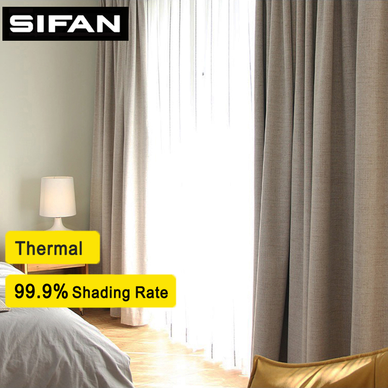 100% Shading rate  Faux Linen Blackout Curtains for Living Room Modern Curtains for the Bedroom Curtains for Kids Custom Made(China)