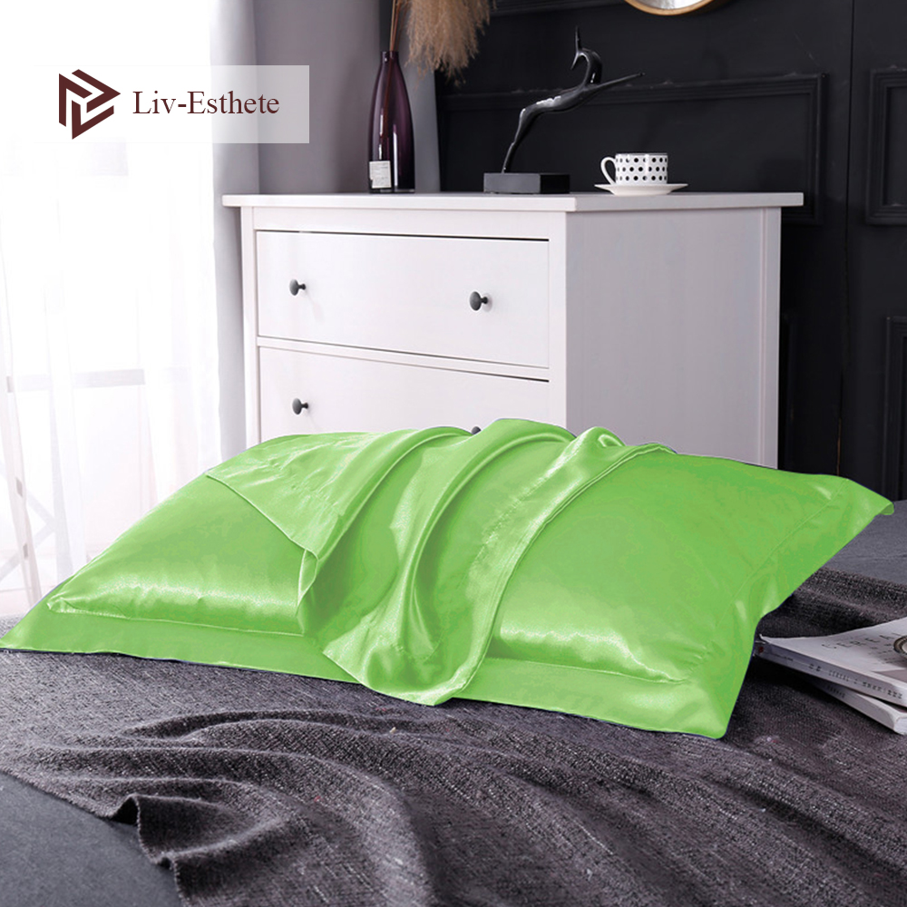 Liv Esthete Green Luxury Healthy Pillowcase Decor 100 Nature Mulberry Silk Cushion Cover Home Textiles Pillow Case Euro 48X74cm in Pillow Case from Home Garden