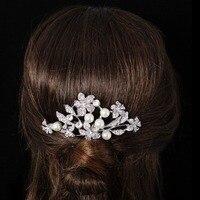 BELLA Fashion Charming Bridal Haar Kamm Vintage Stil Simulierte Perle Floral Kopf Stück Klar Österreichischen Kristall Hochzeit Schmuck