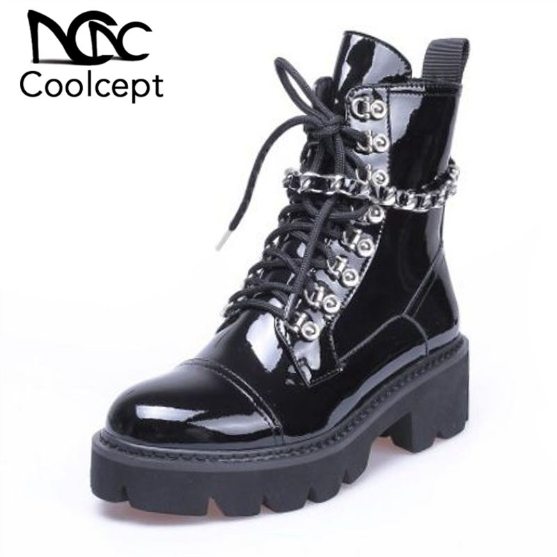 Coolcept Fashion Women Motorcycle High Heel Boots Chain Platform Winter Shoes Thick Heel Shoes Cool Ankle Boots Size 34-39Coolcept Fashion Women Motorcycle High Heel Boots Chain Platform Winter Shoes Thick Heel Shoes Cool Ankle Boots Size 34-39