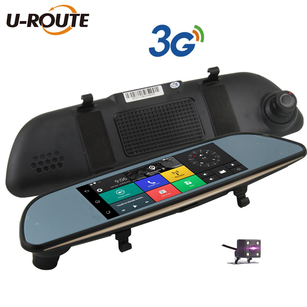 3g wifi car dvr camera gps navigation android 5 video recorder bluetooth dual lens rearview mirror camcorder dash cam hd1080p 7