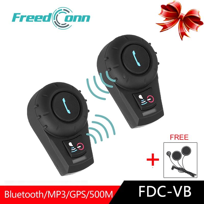 2PC FreeConn FDCVB Bluetooth Intercom For Motorcycle Helmet Headset Moto BT Interphone  Earphones Helmet Cascos Motociclista GPS