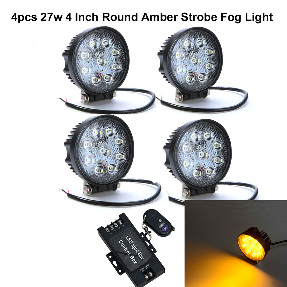 Honzdda 4pcs 4 Inch 27W Round Car Led Work Light 12V 24v Amber Led Fog Light 30 Degree Spot Beam Offroad Led Strobe Signal Lamp